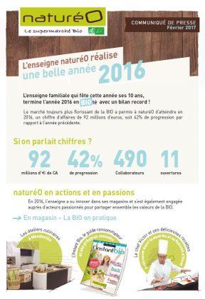 Catalogue produits bio COMMUNIQUE DE PRESSE : BILAN 2016