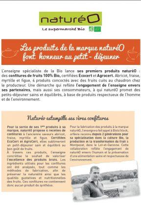 Catalogue produits bio COMMUNIQUE DE PRESSE : MARQUE NATUREO